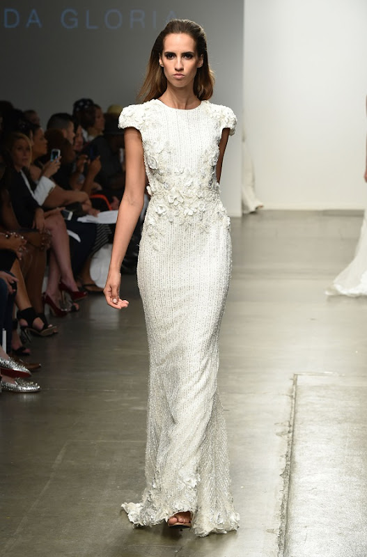 Model on the runway during the Leah Da Gloria Spring 2015 Collection at the Fashion Palette Evening and Bridal Wear Spring Summer Show, held at Chelsea Pier 59 in New York City, Sunday, September 7, 2014.