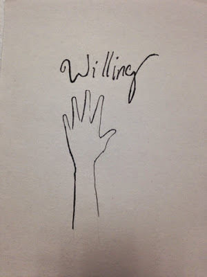 97 Hearts Willing hand drawing