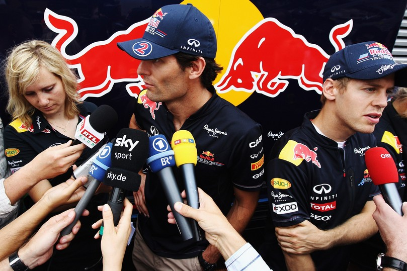 Марк Уэббер и Себастьян Феттель дают интервью в дни уикэнда на Гран-при Монако 2011