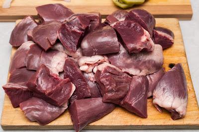 нарезанное свиное сердце