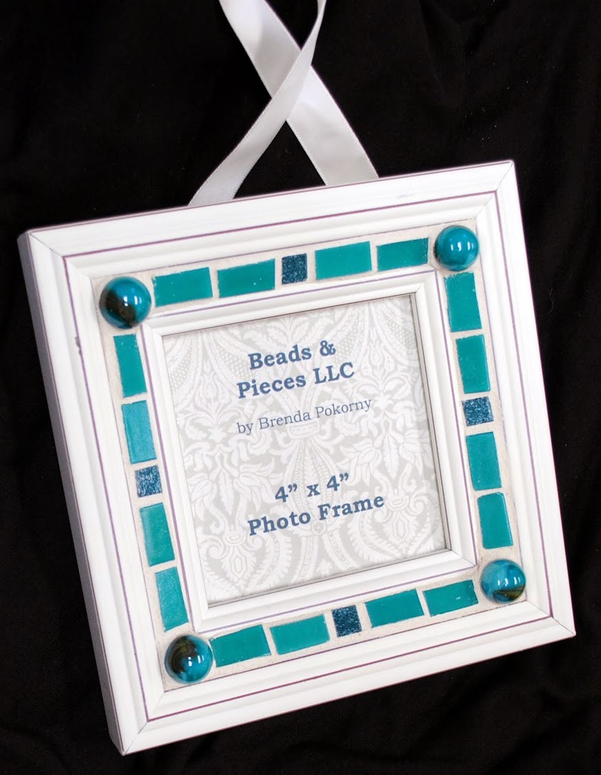 teal time mosaic hanging photo frame mof1360 - Mosaic Picture Frames