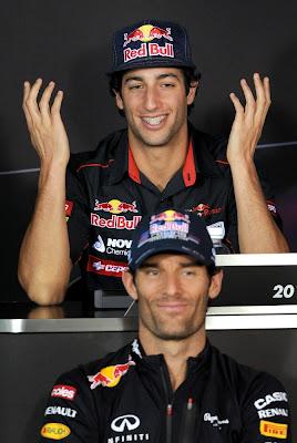 Даниэль Риккардо и Марк Уэббер на пресс-конференции в четверг на Гран-при Австралии 2012