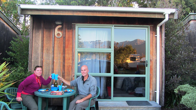 Thanksgiving Dinner outside our holiday park cabin.