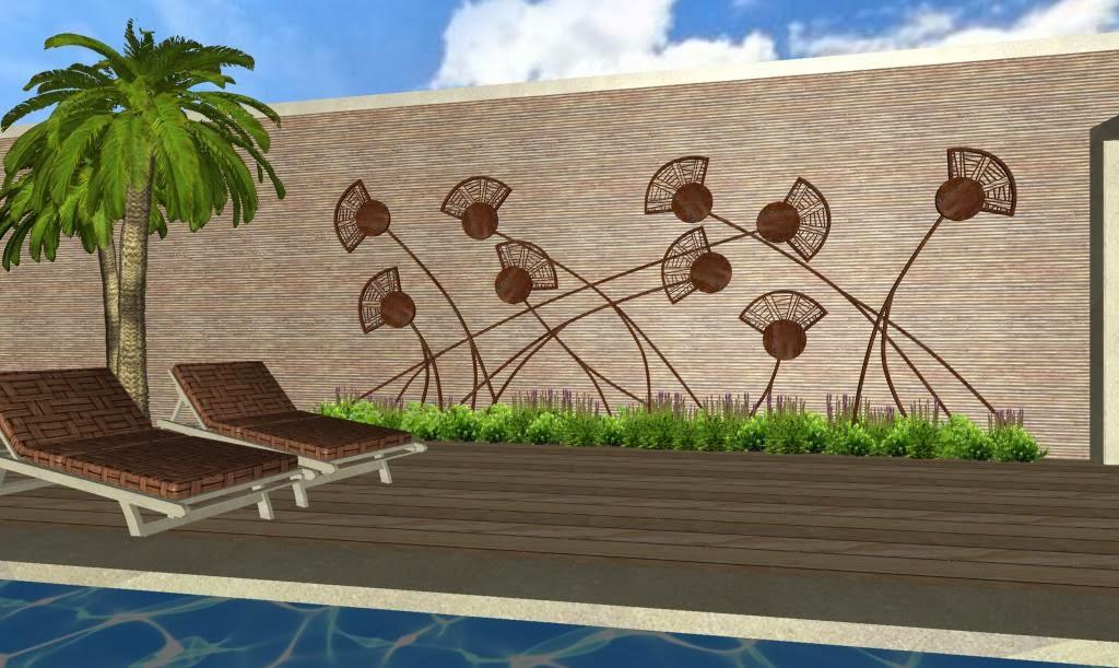 Dise os 3d imagenes renders de jardines virtuales y for Decoracion de jardines y muros exteriores