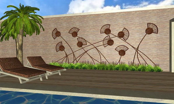 adornos en hierro para jardines - foto diseño jardines de lujo - campo de amapolas