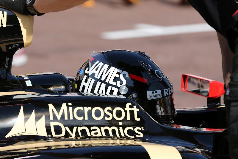 Кими Райкконен в шлеме в стиле Джеймс Ханта на Гран-при Монако 2012