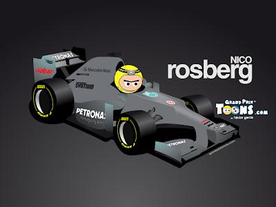 Нико Росберг Mercedes W03 Grand Prix Toons 2012