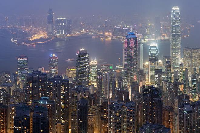 Vista de Hong Kong desde la bahía