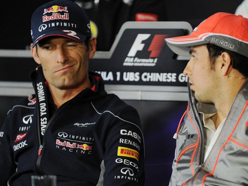 Марк Уэббер и Серхио Перес на пресс-конференции в четверг на Гран-при Китая 2013