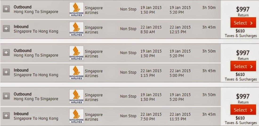 二人同行香港往來新加坡,$997(連稅$1,601起)