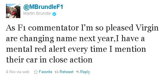 Мартин Брандл в твиттере о смене названии Virgin в следующем сезоне