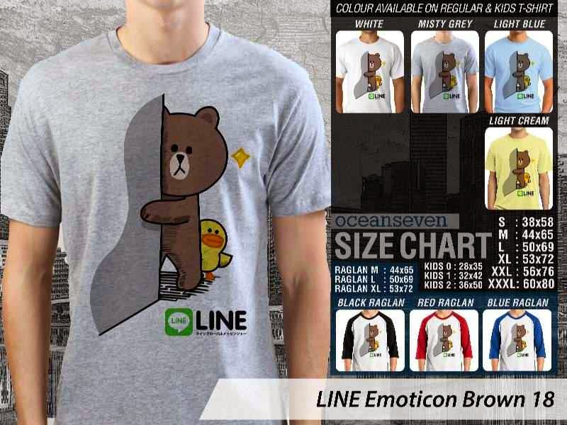 KAOS IT LINE Emoticon Brown 18 Social Media Chating distro ocean seven