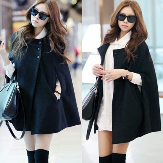 Korean Style Black Womens Cloak Poncho Cape Coat Jacket Outwear ...