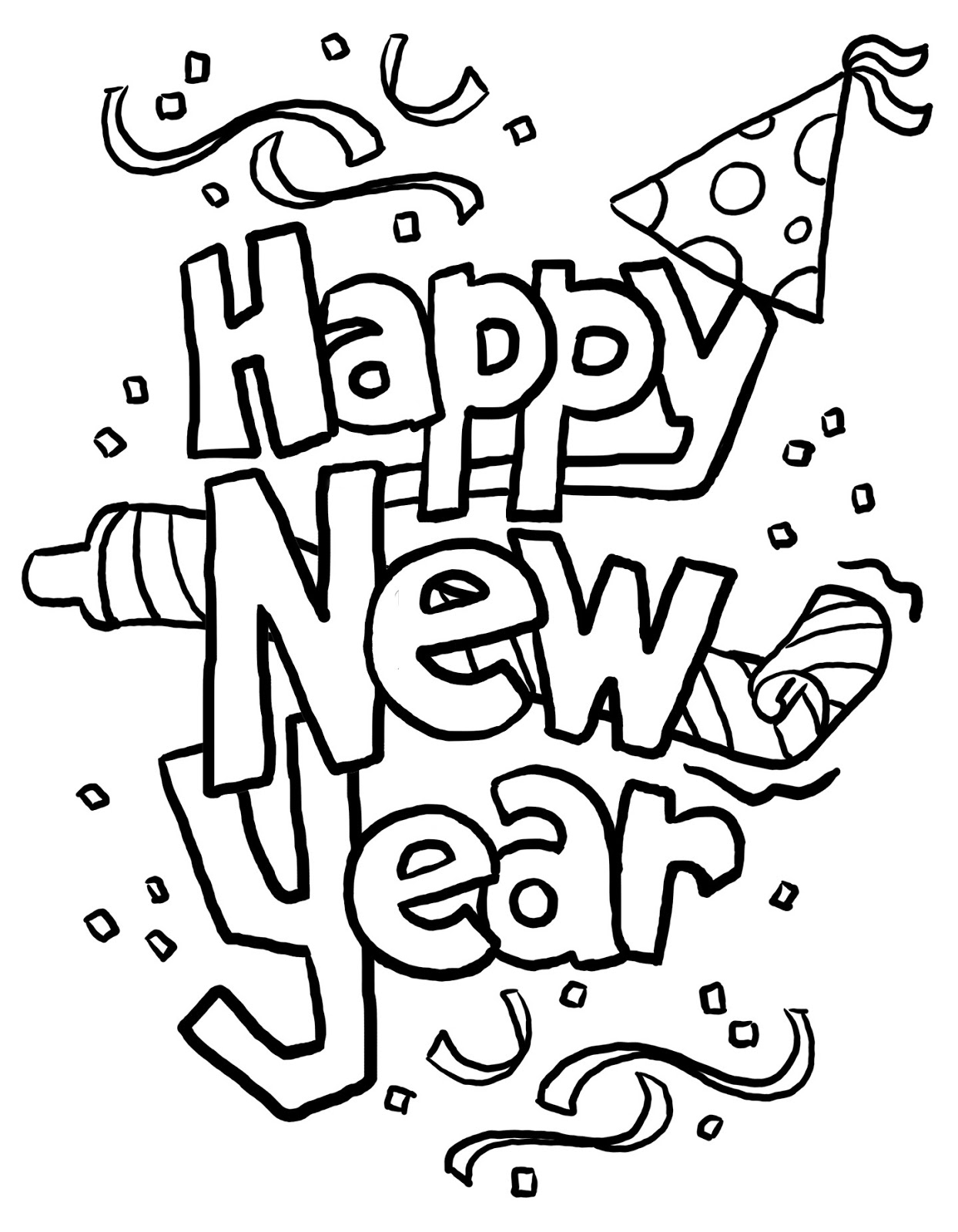 Printables4Kids free coloring pages, word search puzzles  - new years coloring pages printable