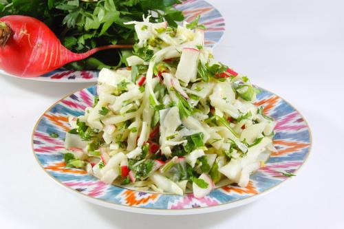Рецепт салат с капустой и редиской