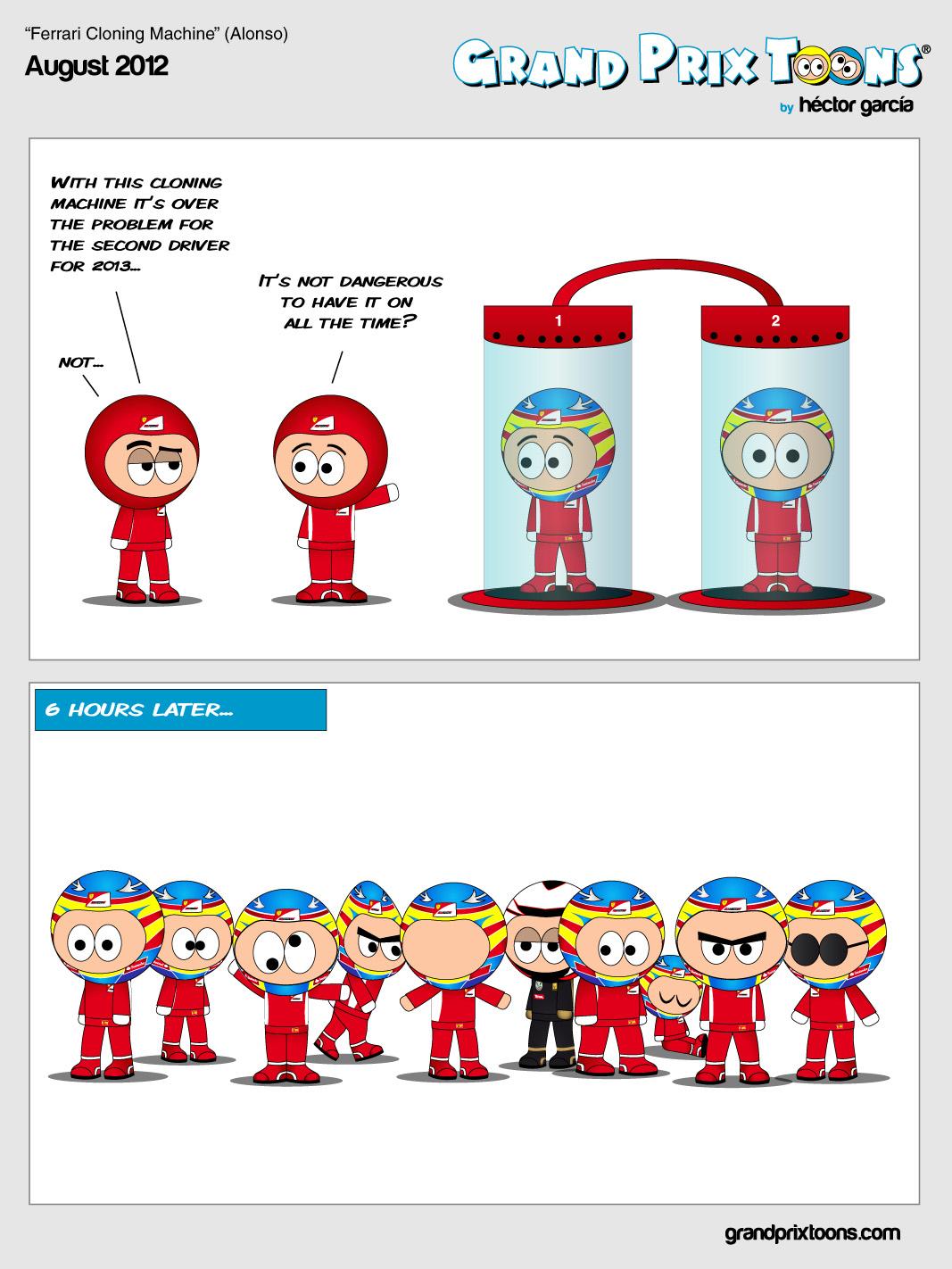 комикс Grand Prix Toons про Фернандо Алонсо и его напарника в Ferrari на 2013 год