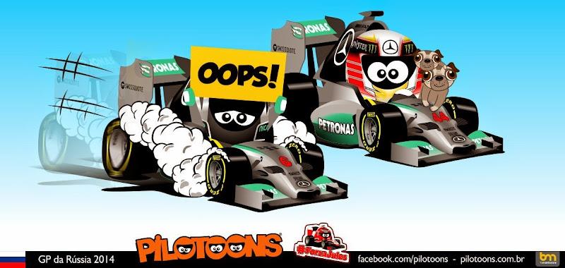 Нико Росберг и Льюис Хэмилтон - комикс pilotoons по Гран-при России 2014