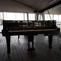 The piano in Drift Restaurant