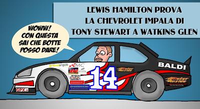 Льюис Хэмилтон в болиде NASCAR Тони Стюарта в Уоткинс-Глене - комикс Baldi