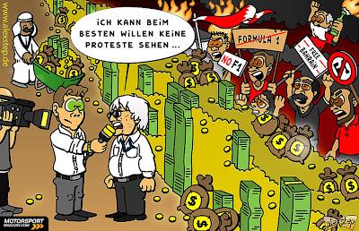 Берни Экклстоун не замечает протесты в Бахрейне - комикс aleXstep