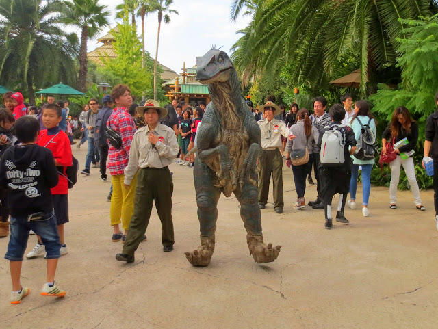 A raptor wandering outside the Jurassic Park ride