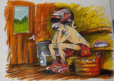 Кими Райкконен в бане - карикатура