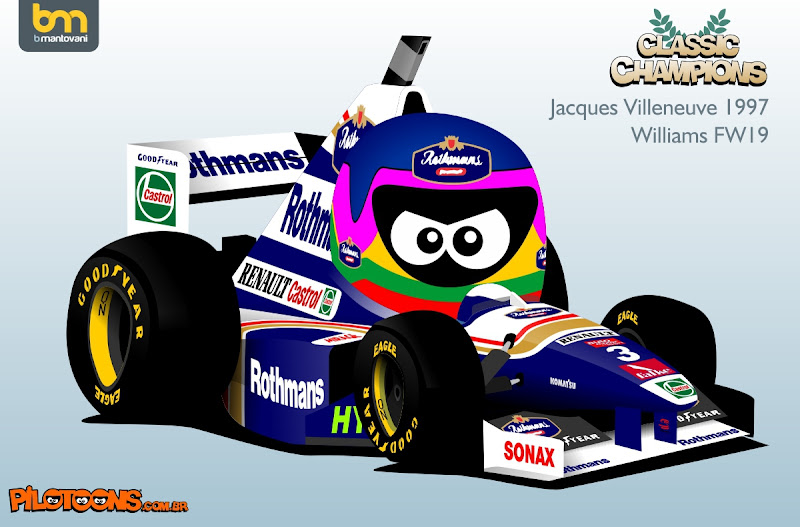 Жак Вильнев 1997 Williams FW19 - комикс pilotoons