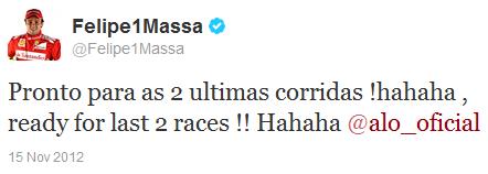 Фелипе Масса в твиттере на Гран-при США 2012