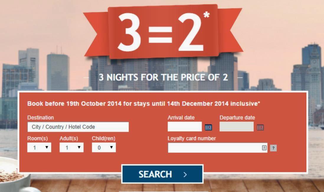 Accor雅高集團其下索菲特、Pullman、Novotel、宜必思等酒店新優惠,住3晚付2晩價錢,相當於67折優惠。