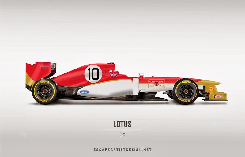 современный болид в раскраске Lotus 49 - Escape Artist Design