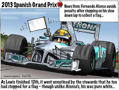 Льюис Хэмилтон на Mercedes с белым флагом - комикс Bruce Thomson по Гран-при Испании 2013