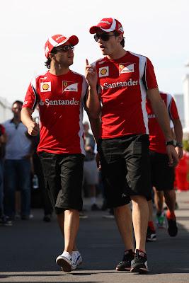 Фелипе Масса и тест-пилот Жюль Бьянки на Гран-при Канады 2011