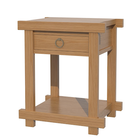 Tansu Nightstand with Shelf, Natural Oak