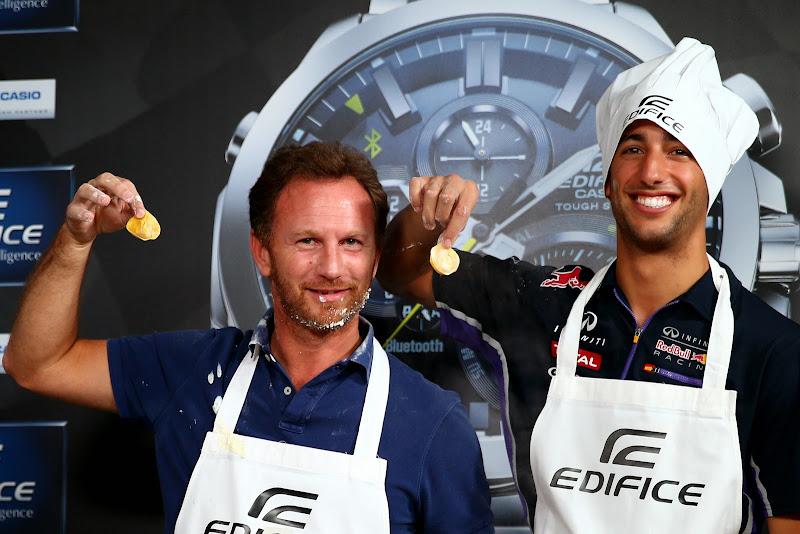 Даниэль Риккардо и Кристиан Хорнер готовят на спонсорском мероприятии Edifice перед Гран-при Италии 2014