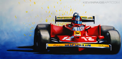 Жиль Вильнев Ferrari watercolor by Kevin Paige Art