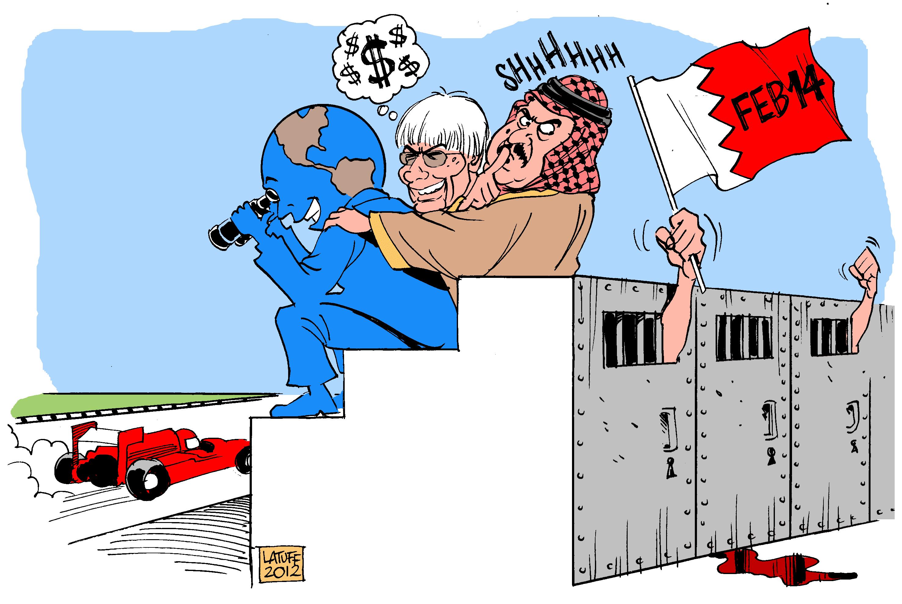 Берни Экклстоун и шейх на трибунах - карикатура Carlos Latuff на тему Гран-при Бахрейна 2012