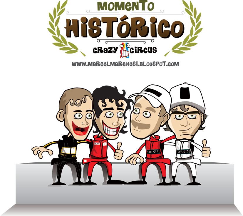 Айртон Сенна Алан Прост Найджел Мэнселл Нельсон Пике - карикатура Crazy Circus Marchesi Design по Гран-при Португалии 1986