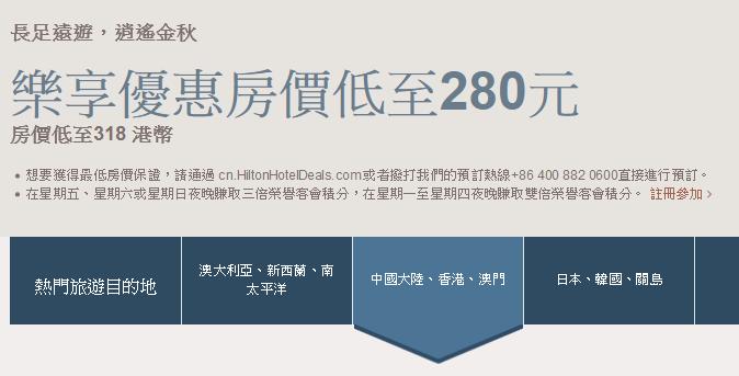 Hilton希爾頓集團其下香港、中國酒店66折起,優惠至10月10日止。