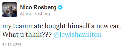 Нико Росберг в твиттере о новой машине Льюиса Хэмилтона на тестах в Хересе 1 февраля 2014
