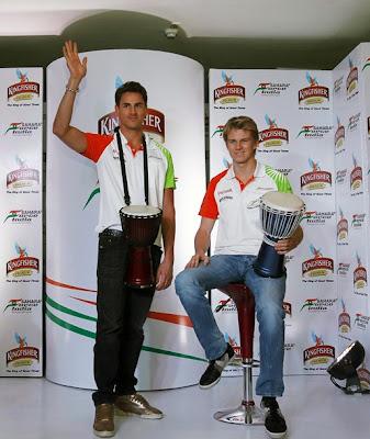 Адриан Сутиль и Нико Хюлькенберг на спонсорском мероприятии на Гран-при Индии 2011