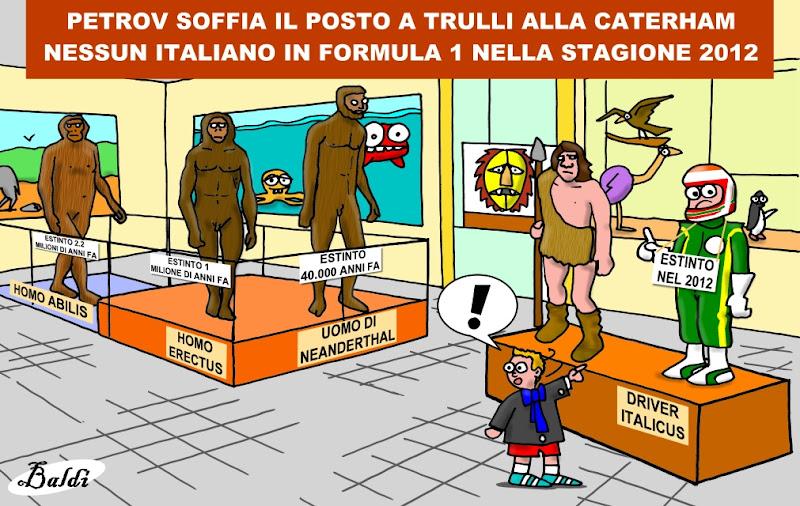 итальянский пилот Ярно Трулли в виде экспоната в музее - комикс Baldi