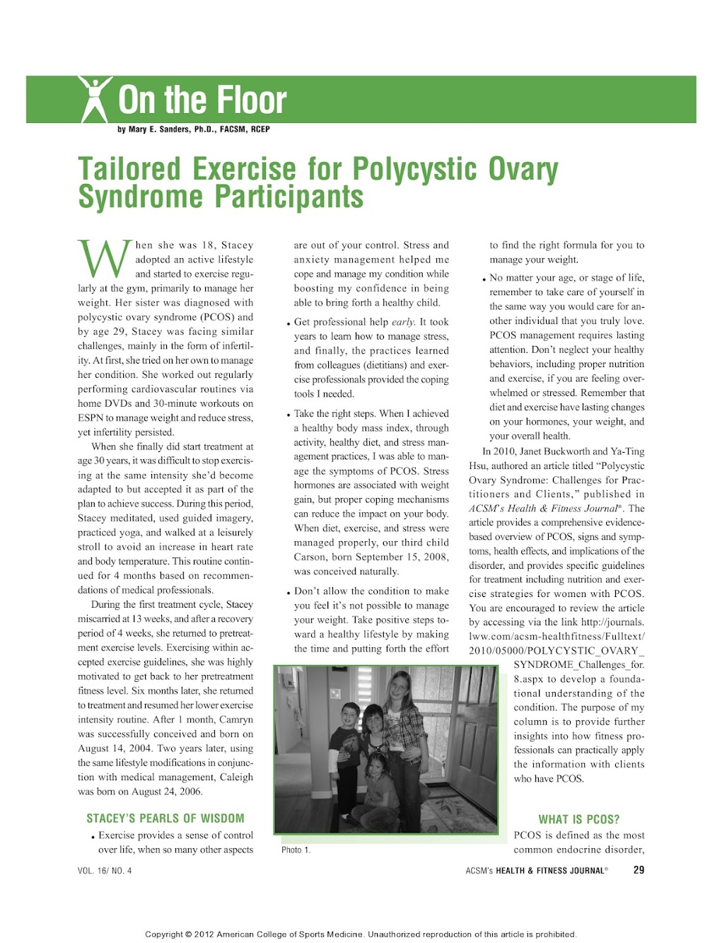 inCYST, Power Up for PCOS, team up with ACSM for exercise article