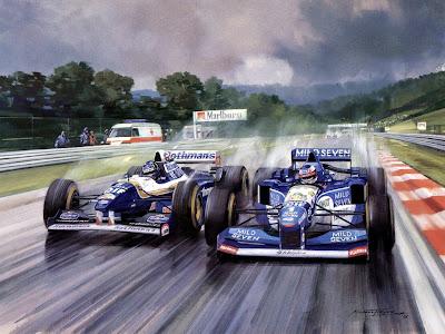 сражение между Деймоном Хиллом на Williams и Михаэлем Шумахером на Benetton в Спа на Гран-при Бельгии 1995 - картина Michael Turner