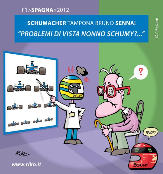 Бруно Сенна и Михаэль Шумахер сталкиваются на Гран-при Испании 2012 - комикс Riko