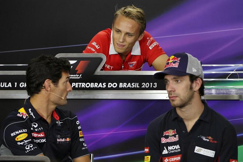 Макс Чилтон, Марк Уэббер и Жан-Эрик Вернь на пресс-конференции Гран-при Бразилии 2013