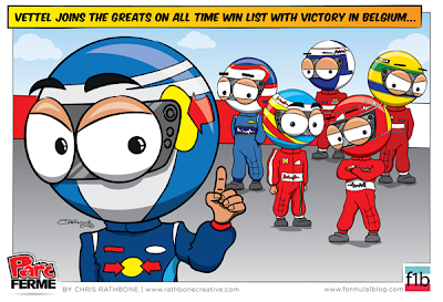 Себастьян Феттель к списку самых великих - комикс Chris Rathbone по Гран-при Бельгии 2013