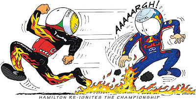 Льюис Хэмилтон и Себастьян Феттель в комиксе Jim Bamber по Гран-при Германии 2011