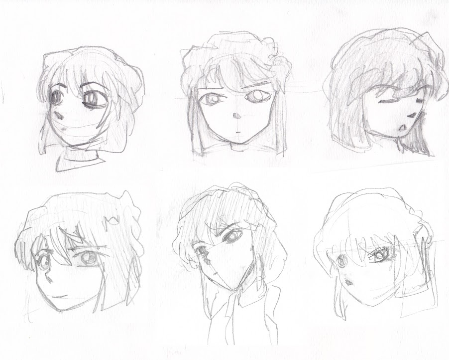 Ai Haibara hand drawn faces