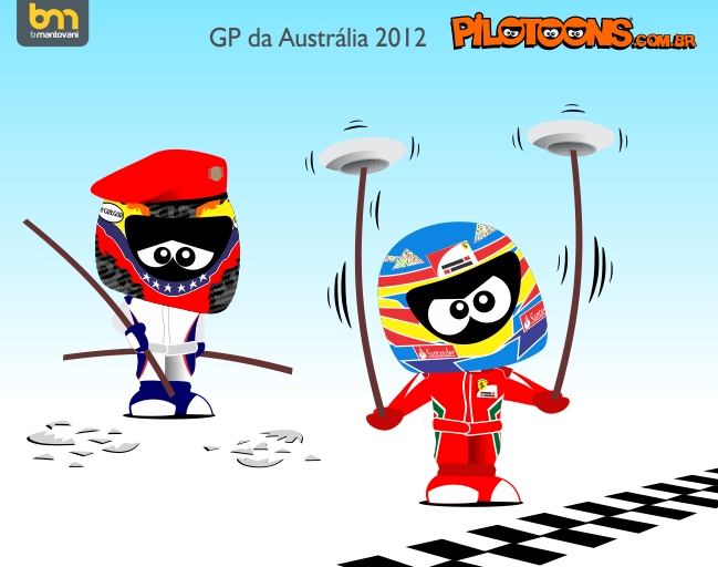 Фернандо Алонсо показывает класс Пастору Мальдонадо - pilotoons по Гран-при Австралии 2012