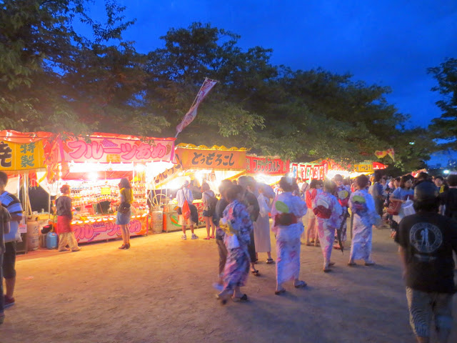 Some of the stalls at the Ohori Fireworks Festival